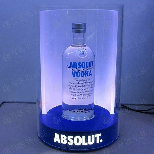 圓柱底發光內鉗LOGO酒展示座-發光效果