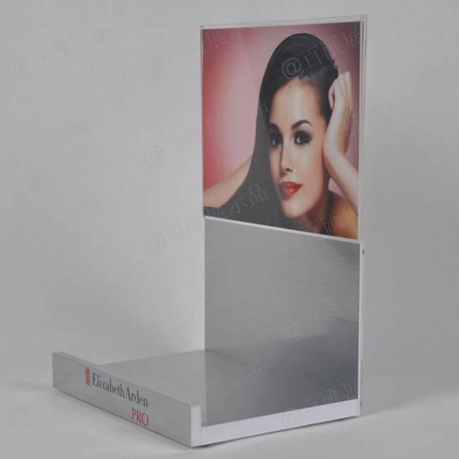 迷人香水L型拉絲銀展示膠架-右側
