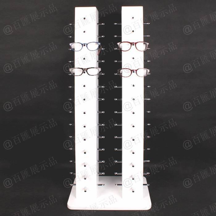 雙排眼鏡金屬支桿直立式亞加力展示架-眼鏡展示