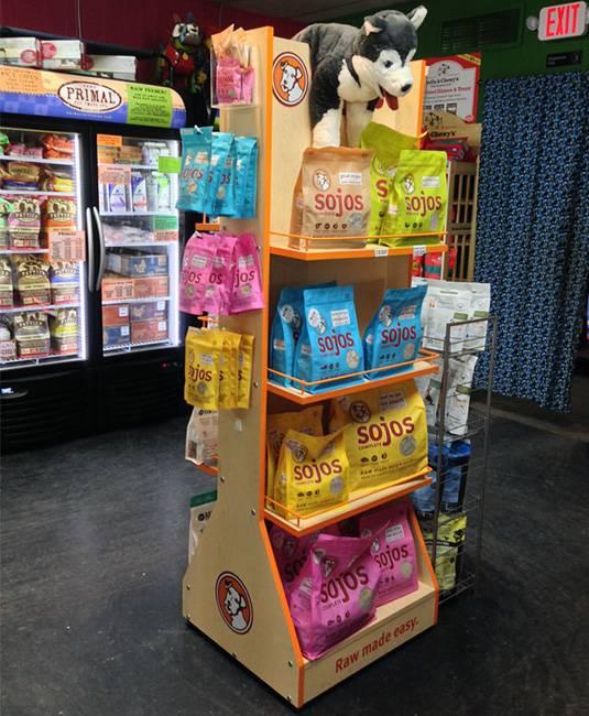 雙面展示寵物狗糧原木展示架