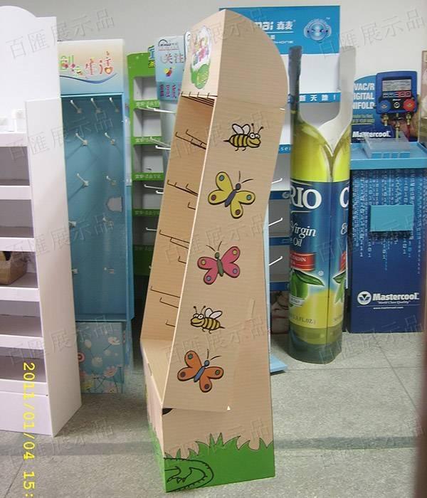 塑膠掛鉤瓦楞紙展示架-側面