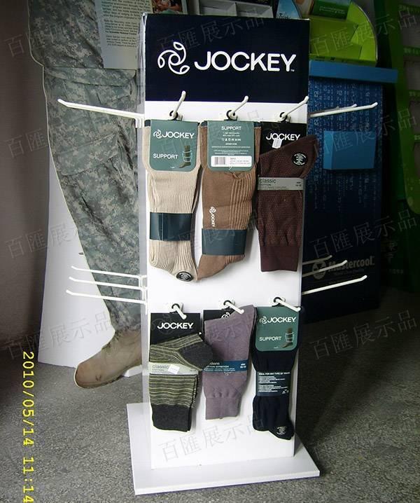四面掛鉤式襪子紙製展示架-產品展示