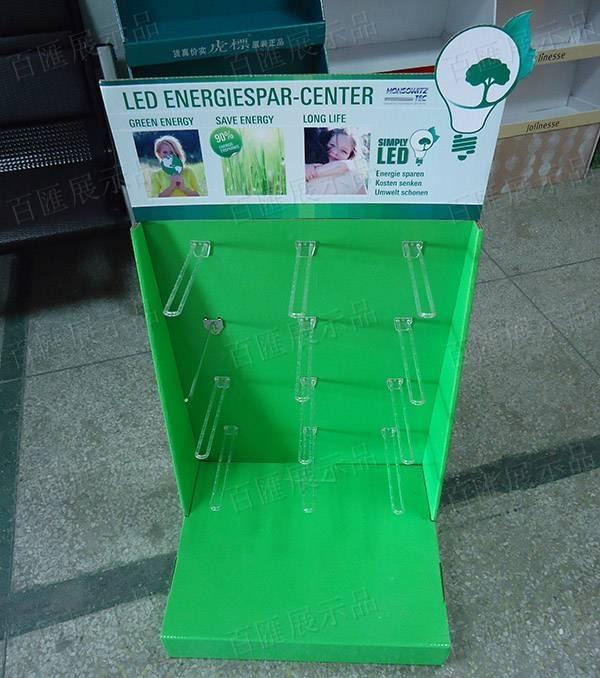LED燈透明掛鉤L型紙製展示架-正面
