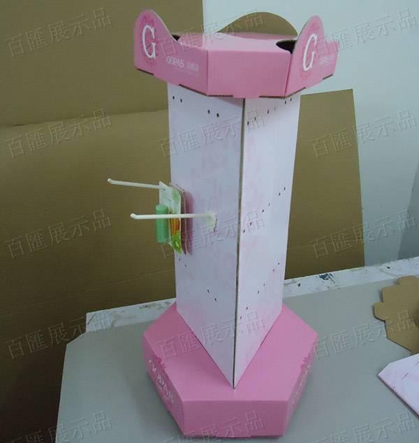 三面旋轉式掛鉤唇膏展示架