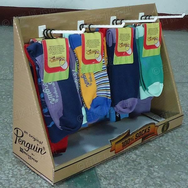 襪子掛鉤式桌面紙陳列台-左側