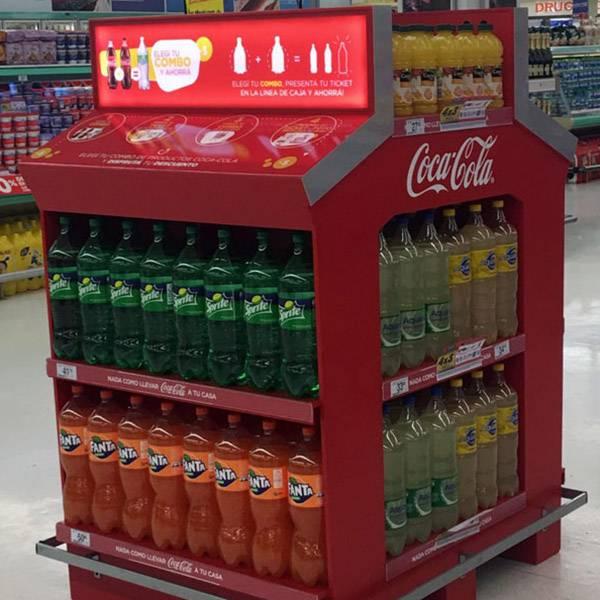 Coca Cola可口可樂產品帶燈箱四面大型陳列木櫃