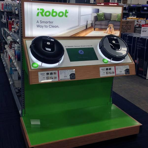 超市端側掃地機器人木製展示台