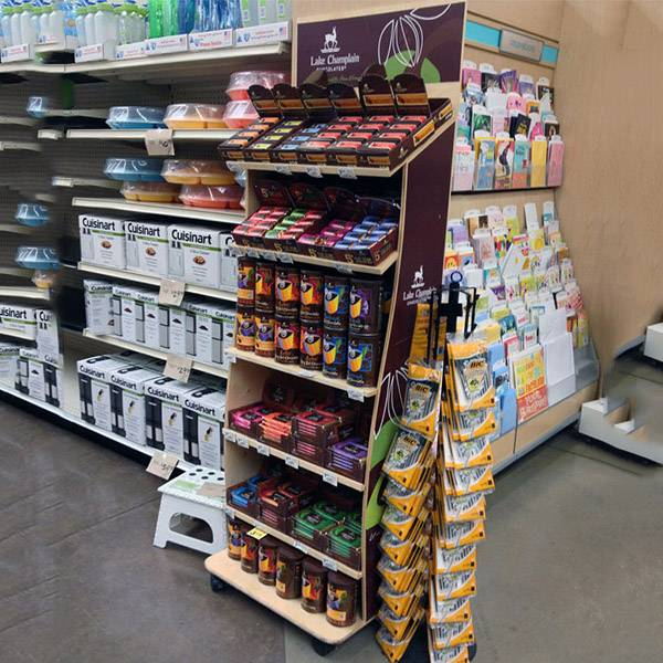 超市零售貨架側端木製展示櫃