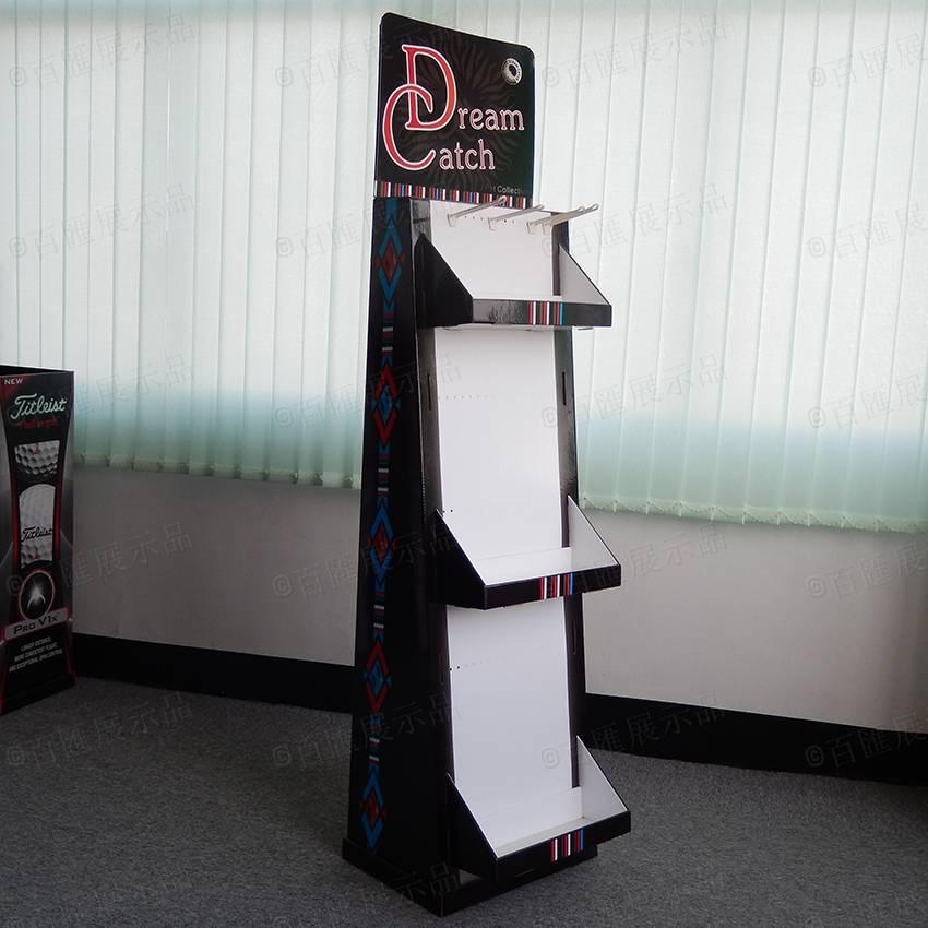 托盤式帶掛鉤紙製展示架